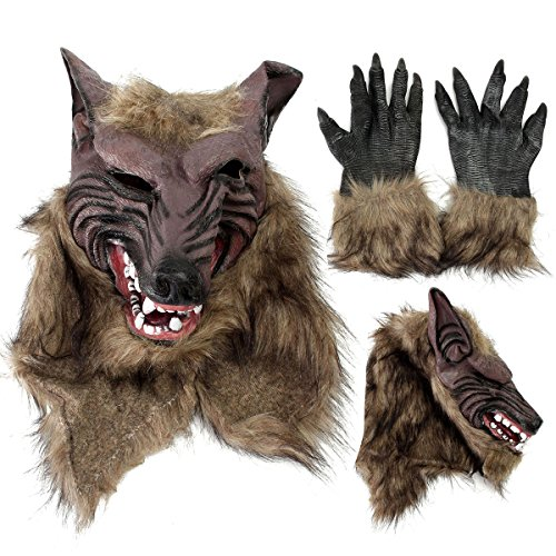 Mask & Costumes - Latex Rubber Wolf Head Hair Mask Werewolf Gloves Party Scary Halloween Cosplay - Wolf Head Bead Hair Mask - 1PCs
