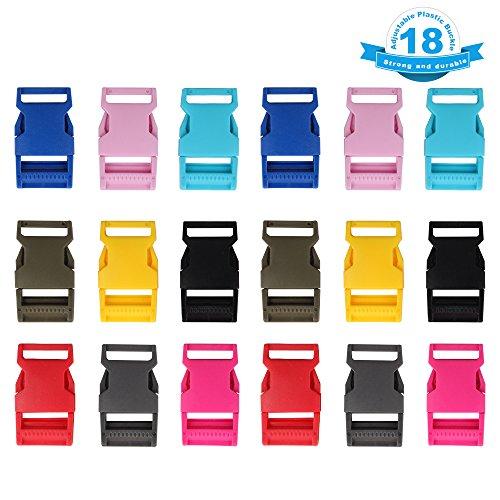 YGDZ 18PCS 1 Inch Adjustable Plastic Buckle Contoured Side Quick Release (Release Buckles Webbing Dog Collar)