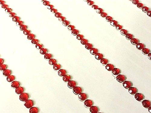 CraftbuddyUS 300x2mm Self Adhesive Red Diamente Crystal Strips on Gems Rhinestone Bling (Adhesive Strips Rhinestone)