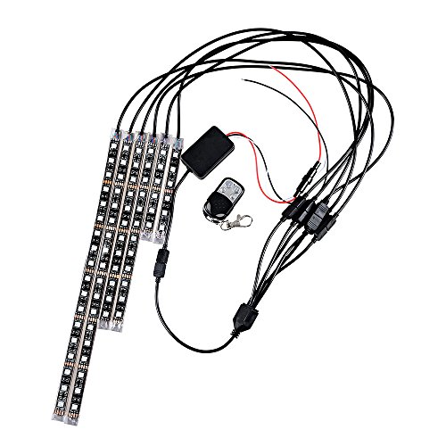 6pcs 15 Multi-Color RGB 5050 SMD LED Flexible Waterproof Strips w/ Remote Control & Sound Activated Motorcycle ATV - Golf Muta