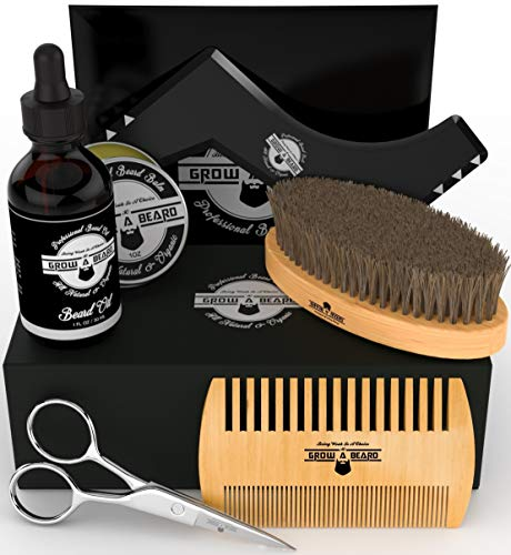 Beard Kit Multi-Functional Grooming Tool | Unique 6-in-1 Mustache & Facial Hair Care Set For Men | Natural Balm, Leave-In Oil, Boar Bristle Brush, Wood Comb, Trimming Scissors, Styling Shaper Template from Grow A Beard