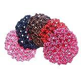 Hair Bun Cover for Girls Women Ballet Dance Skating 5-Pack Mesh Fabric Hair Snoods Net, Handmade Crochet with Rhinestone