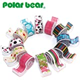 """Polar Bear® Washi Masking Tape With Cute Dispenser, 0.47""""x5.5 Yards each, Pack of 12pcs(total 66 yards), assorted colors,(WT-1255)"""