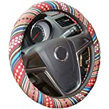 Istn 2018 Small Ethnic Style Coarse Flax Cloth Automotive Steering Wheel Cover Anti Slip and Sweat Absorption Auto Car Wrap Cover (14''-14.25, D)