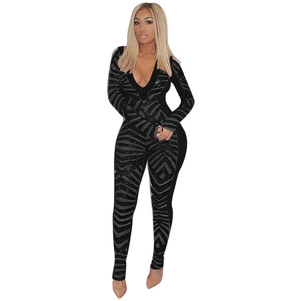 Black YONGMEI SHOP European and American Sexy deep VNeck Sequin Jumpsuit (color   Red, Size   XXL)