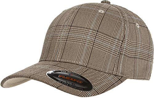 Flexfit Original Glen Check Plaid Hat Baseball Blank Cap Fitted Flex Fit 6196 Small/Medium - Brown/Khaki