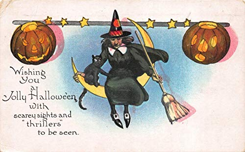 Halloween Postcard Witch Sitting on a Crescent Moon,