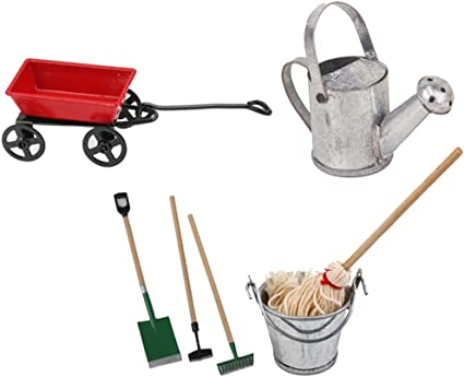 1//12 Dollhouse Miniature Garden Cleaning DIY Tools Mop Bucket /& Watering Can
