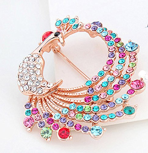 Fashion Jewelry Elegant Swarovski Elements Crystal Colorful Peacock Brooch Pin Champagne Gold Plated by CNCbetter (Image #2)