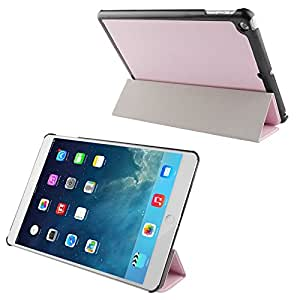 3-folding Cross Texture Leather Case with Holder & Sleep / Wake-up Function for iPad Air (Pink)