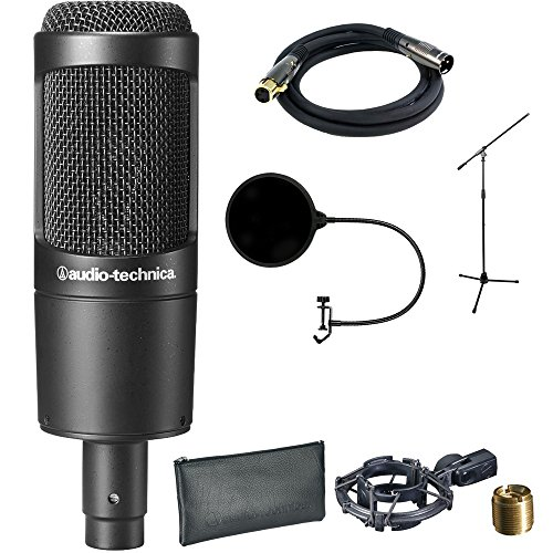 Audio-Technica Cardioid Condenser Microphone (AT2035) with XLR 10' Male to Female Gold Plated Cable, Microphone Wind Screen with Mic Stand Clip & Professional Microphone Stand with Boom