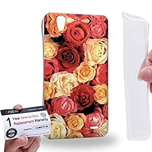 Case88 [Huawei Ascend G630] Gel TPU Carcasa/Funda & Tarjeta de garantía - Art Design Red and Champagne Rose Art1400