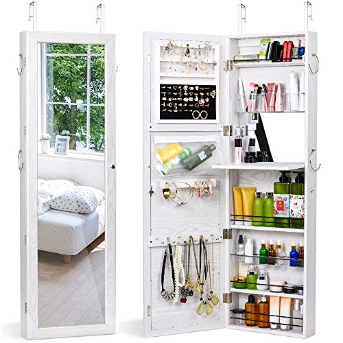 (Titan Mall Jewelry Cabinet Wall Door Jewelry Organizer Mounted Lockable Jewelry Armoire Organizer with Full-Length Mirror Dressing Mirror Makeup Jewelry Storage(White))