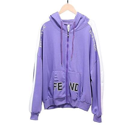 LXIANGP Sudadera con Capucha para Mujer,Zipper Cardigan Color sólido Imprimir Agujero Suelta Suéter Chaqueta