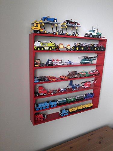 VersaRacks – Cars, Thomas the Train, Monster Trucks, Legos, Model Wall Display Case Shelf – Apple Red