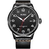 BUREI Men's Unique Quartz Wrist Watches with Stainless Steel Luminous Dial with Black Leather Band