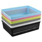 Lesbye Colored Storage Basket Tray, A4 Paper Baskets, Rectangular Storage Basket Set of 6
