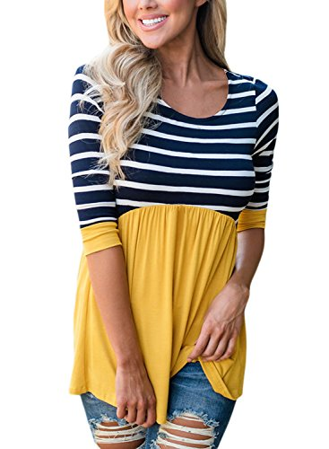 HOTAPEI Women Shirts Casual Contrast 3/4 Sleeve Striped Round Neck Blouse Tops Yellow XL
