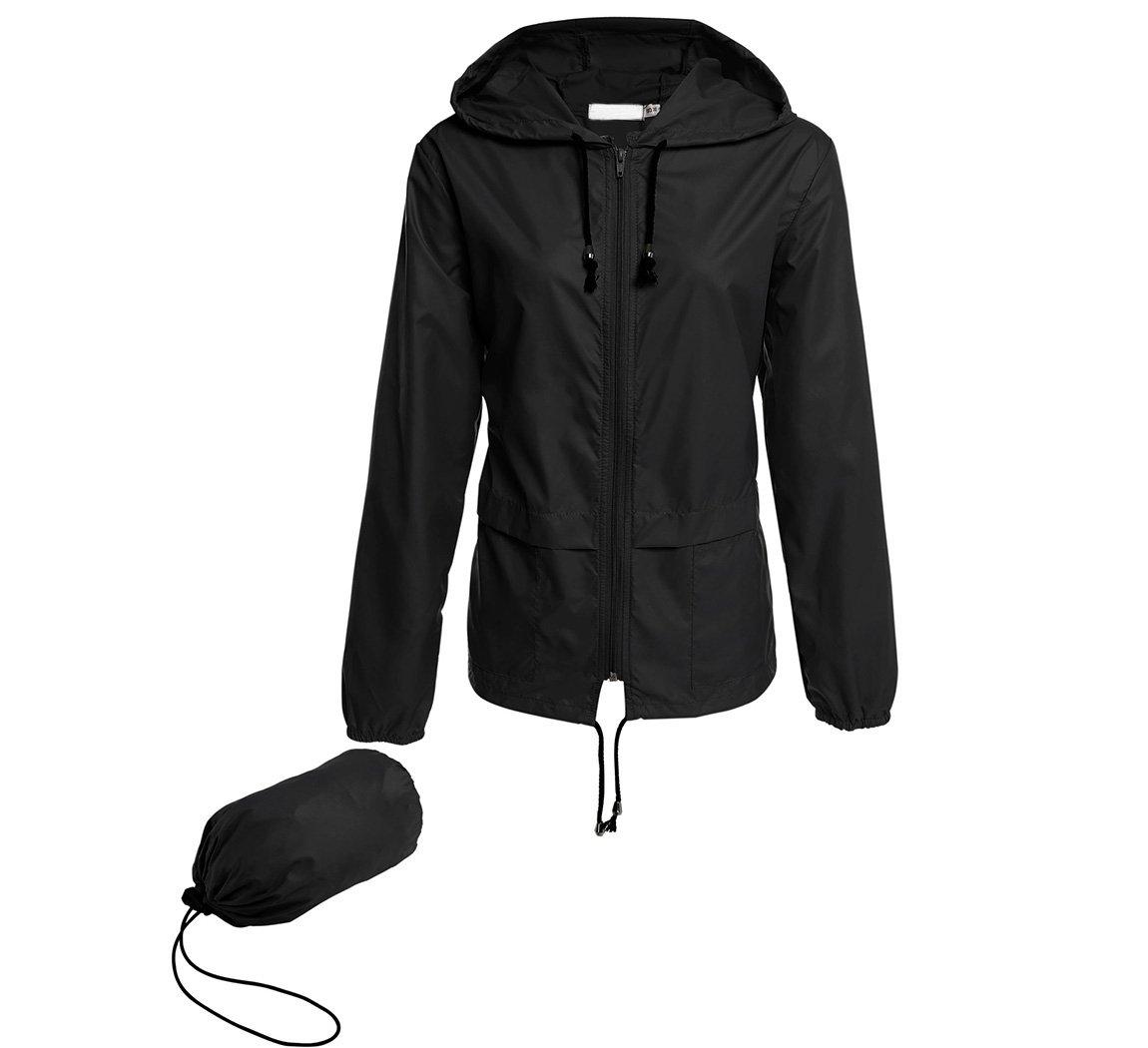 Hount Women's Lightweight Travel Trench Raincoat Hoodie Waterproof Hiking Coat Packable Rain Jacket (L, Black)