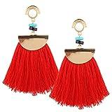 AIMTOPPY Women Jewelry Vintage Women Boho Bohemian Earrings Long Tassel Fringe Large Fan Fringe Dangle Earrings (Red, Free)