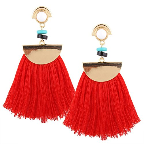 Women Jewelry ,AIMTOPPY Vintage Women Boho Bohemian Earrings Long Tassel Fringe Large fan fringe Dangle Earrings (Red, free) -