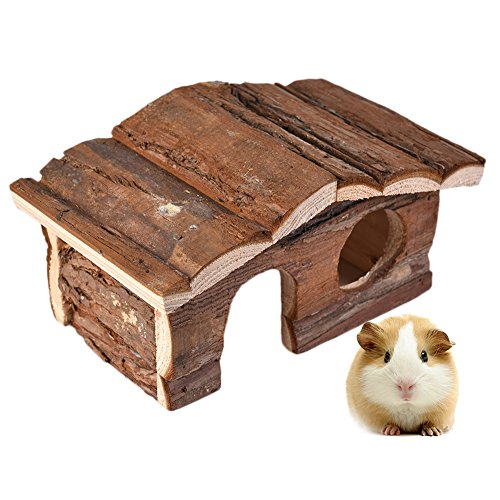 Hamster Toys Natural Wooden House Double-deck Loft Luxury Villa Hut for Small Aimals Chewing Playing Hiding (Hamster Wood Hut)