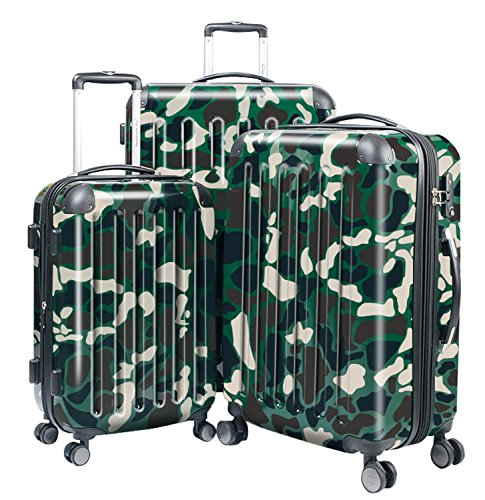 HAUPTSTADTKOFFER Luggages Sets Glossy Suitcase Sets Hardside Spinner Trolley Expandable (20', 24' & 28') TSA (Camouflage)