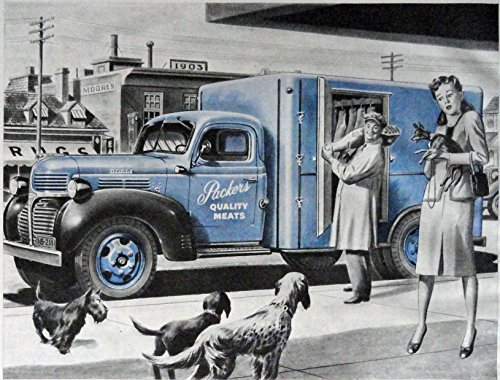 Dodge Trucks, 40's Print ad. Full Page Color Illustration (new 1 1/2-ton chassis and cab with refrigerator body/ Packers truck, dogs) Original Vintage 1945 Collier's Magazine Print Art ()