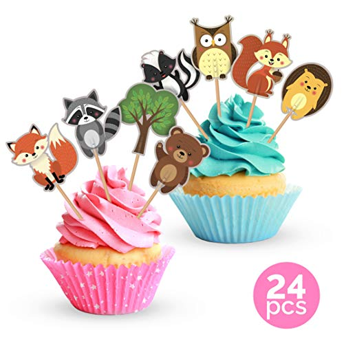 Woodland Animals Cake Toppers Cupcake Picks - Birthday Party or Forest Baby Shower Decorations - 24 Count ()