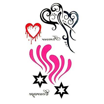 Oottati Pequeño Lindo Tatuaje Temporal Estrella Del Corazón (2 ...