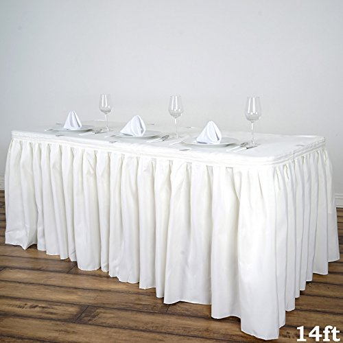 BalsaCircle 14 feet x 29-Inch Ivory Polyester Banquet Table Skirt Linens Wedding Party Events Decorations Kitchen Dining Catering