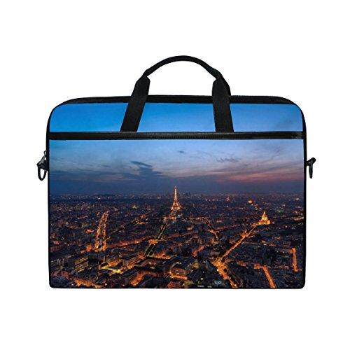 Paris Computer Messenger - Rh Studio Laptop Bag Eiffel Tower Night City Paris Laptop Shoulder Messenger Bag Case Sleeve For 14 Inch To 15.6 Inch With Adjustable Notebook Shoulder Strap