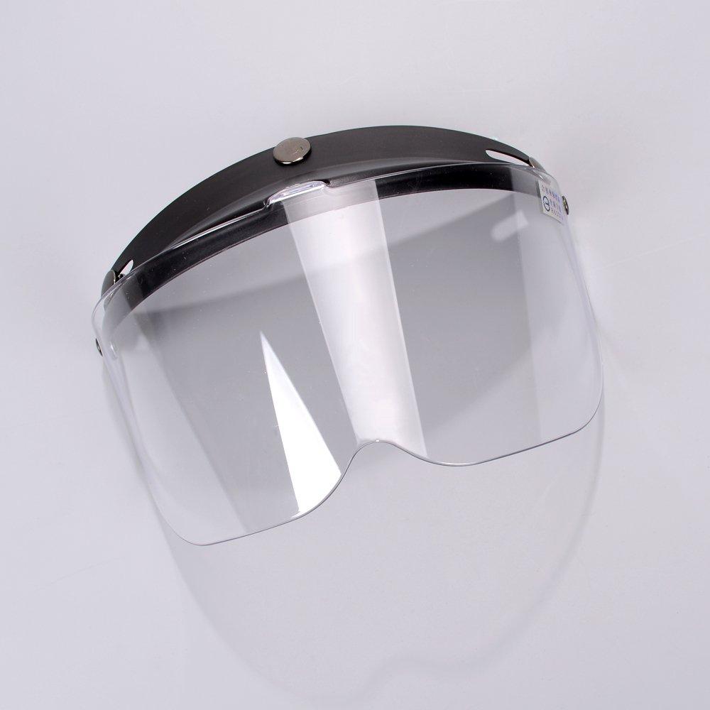 Clear 3-Snap Flip Up Full Shield Visor Universal Motorcycle Open Half Face Helmet Anti Fog-Coating UV Protection