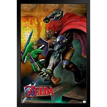 Pyramid America The Legend Of Zelda Ocarina Of Time Link Vs Ganondorf Nintendo Fantasy Video Game Black Wood Framed Poster 14x20