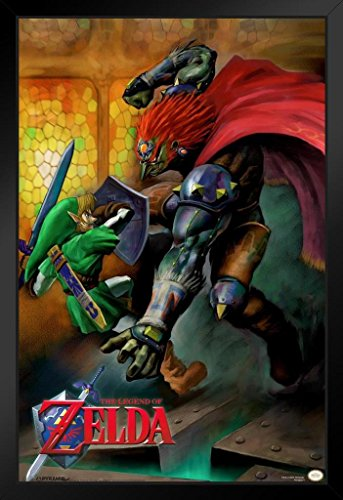 Pyramid America The Legend of Zelda Ocarina of Time Link Vs Ganondorf Nintendo Fantasy Video Game Black Wood Framed Poster 14x20