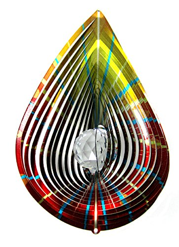 Teardrop Wind Sculpture (Shipityourway 3D Wind Spinner Teardrop Crystal Gazing Ball with Swivel (12