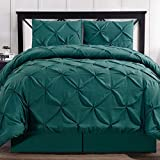 Hotel Style Comforter Set Brushed Microfiber 4 Piece Pinch Pleat Pintuck Luxury Modern Hypoallergenic All Season Soft Bedding - with Pillow Shams and Bed Skirt - Solid Teal Oversized King Size