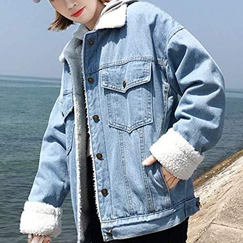 Bleu Rétro Cowboy Mode Dames S D'hiver Plein Bouton coloré Hiver Manteau Veste Outwear Manteau Taille Féminine En Casual Loisirs Air Lamb Bleu 5q0PxtUxw