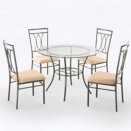 (Mainstay Elegant Dinette Style 5-Piece Glass Top Metal Dining Set -)