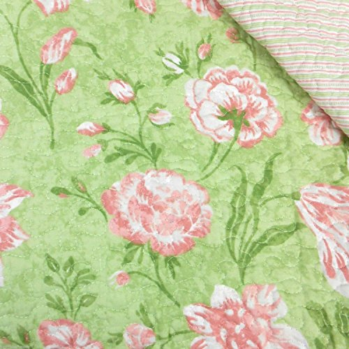 Laura Ashley Cadence 2 Standard Pillow Shams Green & Pink Floral