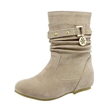 e7fc3284c129 Manadlian Chaussures Bottes Hiver De Neige Femme Boots Fourrees Bottines  Mode Courts avec Doublure Chaude Bottines Plates Fourrées Sélection  Multicolore ...