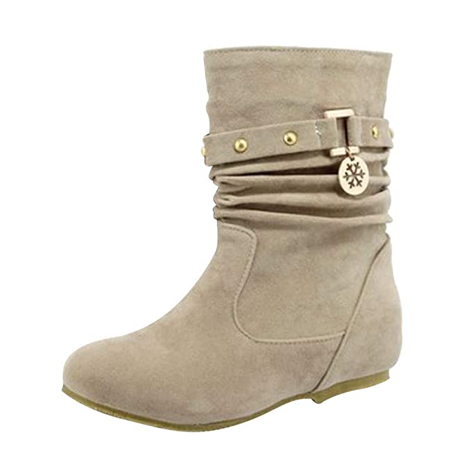 d98eb62ecaac3 Aurorax-shoes Womens Mid Calf Wedges Bootie,Faux Suede Booties,Winter Warm  Soft Slouchy Flat Boot 5.5-9.5