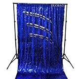 DUOBAO Sequin Backdrop 8Ft Royal Blue to Silver Rerversble Glitter Backdrop 4FTx8FT Mermaid Sequin Backdrop for Photo Booth Wedding Ceremony Backdrop