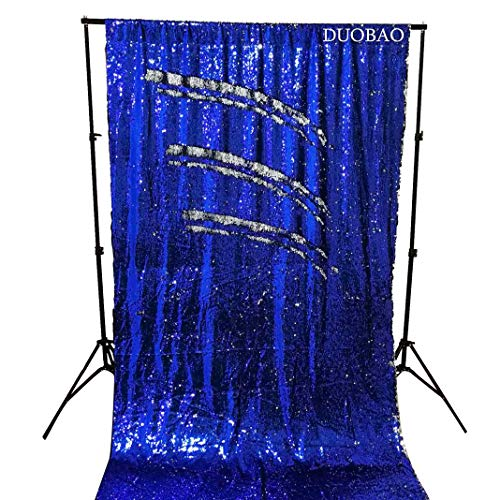 DUOBAO Sequin Backdrop Curtains 2 Panels 4FTx8FT Mermaid Sequin Photo Backdrop Royal Blue to Silver Reversible Sequin Photography Backdrop, Wedding Backdrop by DUOBAO (Image #1)