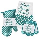 Home Collection 5 Piece Teal Faith Family Friends Kitchen Linen Bundle -1 Oven Mitt 2 pot Holder 2 Kitchen Towels
