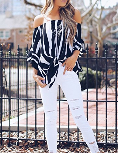 Womens Summer Sexy Off Shoulder Striped Short Sleeve T-Shirt Casual Knot Tie Chiffon Blouse Top (Black,M) by Defal (Image #5)'