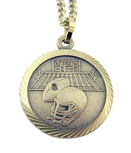 Nickel Silver Saint Christopher Football Athlete Sports Medal Pendant, 3/4 - Christopher Football Medal