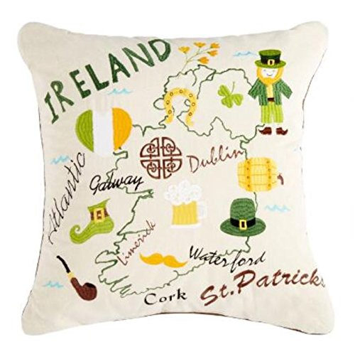 Nantucket Throw Pillow (Ireland Map Embroidered Square Throw Pillow 18