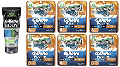 Gillette Body Non Foaming Shave Gel for Men, 5.9 Fl Oz + Fusion Proglide Power Refill Blades 8 Ct (6 Pack) + FREE FREE Schick Slim Twin ST for Sensitive Skin by GlLLETTE
