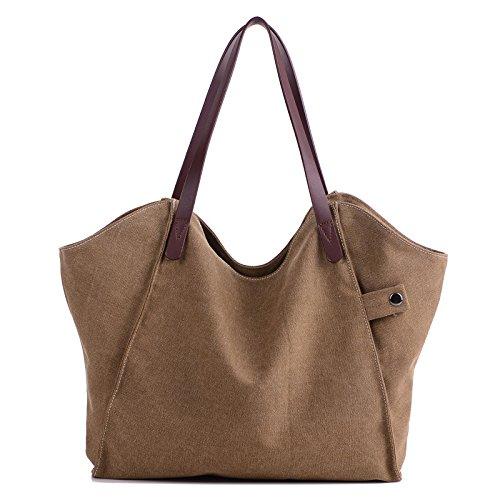KLXEB Grote Capaciteit Boodschappentas Schoudertassen Voor Vrouwen Vrouwen Canvas Messenger Bag Casual Vrouwen Tote Dames Bruin 0LgI6qjFWI